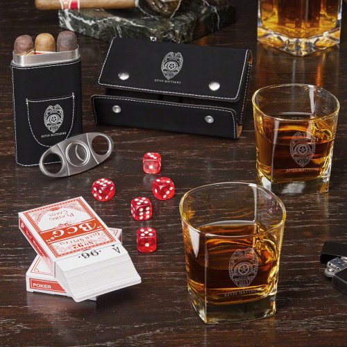 There's nothing like a good old fashioned game of Poker Dice or Wichita with the family after a long day on the job. This cool personalized whiskey and cigar gift set is a great gift for police officers to relax with after work. He and his partner can k #gift