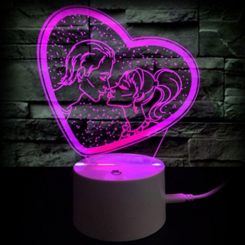 Valentine's Day Gift Romantic Kiss Color Changing 3D Vision Night Light #gift