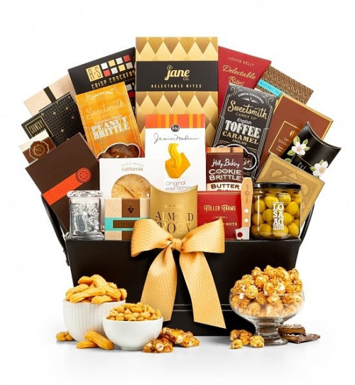An exquisite gourmet collection! When you want to send the best, send them The Ritz! Just like the name implies, this upscale gift basket is full of extraordinary indulgences. We fill a handsome leather and suede tray with gourmet that is ideal for your m #gift