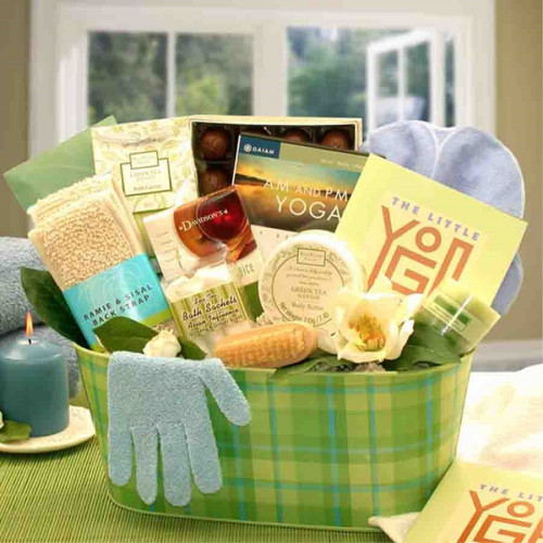 Here is a great gift for all the Yoga moms out there. This special gift has a yoga techniques book and DVD. Also included are many body pampering products she is sure to love, including green tea bath salts and a Ramie & Sisal Back scrubber. Yummy treats #gift