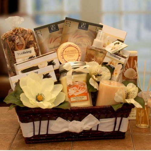 This basket is filled with deliciously scented vanilla candles, potpourri, diffusers and more for a delightful way to pamper her senses. #gift