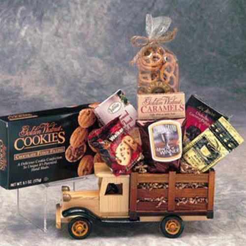 An alternative to a traditional Gift Basket - Our solid-wood antique style truck filled with sweet and savory goodies is the perfect thing for antique buffs or truck fanatics. A truly unique executive gift. #gift