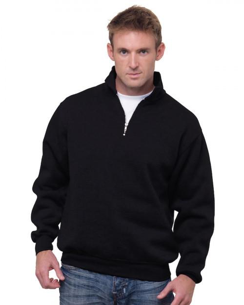 Bayside BA920 Unisex 9.5 oz.; 80/20 Quarter-Zip Pullover Sweatshirt - Black - S #%20