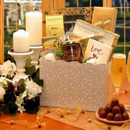 Wish them Happily Ever After with this gift! Romance is in the air with this classic and elegant wedding gift box. This stylish wedding gift set includes items to get their life, and night, together started off right, with the inspirational book, Love, fo #gift