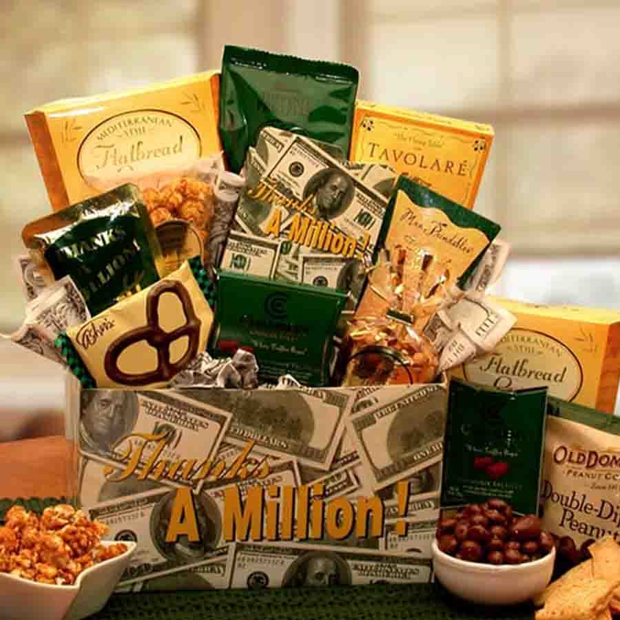 Send more than a Thank You note with an assortment of sweet and savory treats in a themed gift box. Thank someone for their generosity, kindness and thoughtfulness with this elegant Thanks A Million gift box filled to overflowing with tasty treats. If som #gift