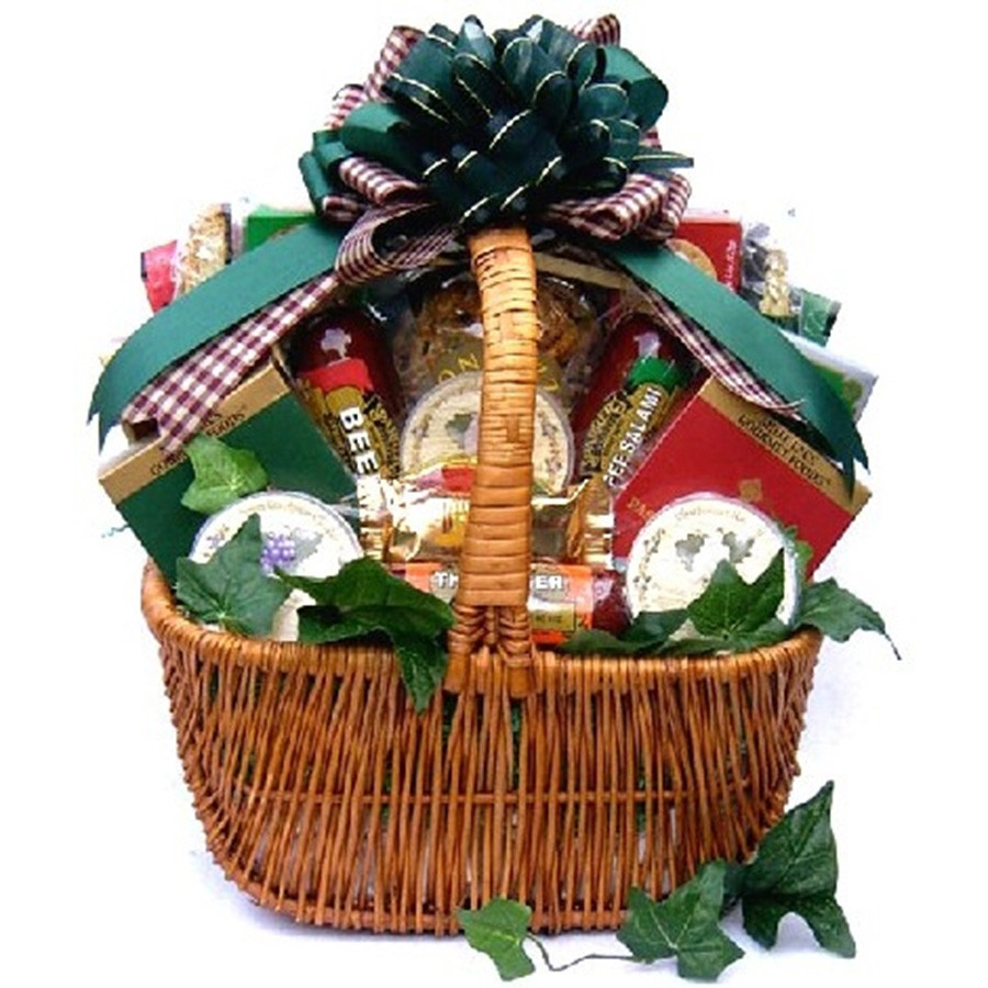 A Cut Above Cheese And Sausage Gift Basket - A savory gift that is a cut above all the rest! This large gift basket is truly a cut above all the rest. They will receive a gift basket filled with a delicious assortment of sausages, cheeses, crackers and sn #gift