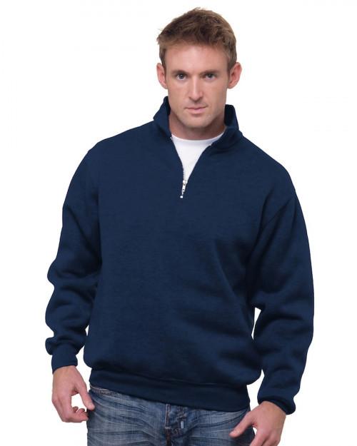 Bayside BA920 Unisex 9.5 oz.; 80/20 Quarter-Zip Pullover Sweatshirt - Navy - S #%20