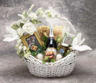 It's Wedding Gift Time! Here we have a real Top Shelve Wedding Gift! Our white wedding gift basket is loaded to the hilt with fantastic Gourmet treats. Let the two Lovers know how much you care about their sacred joining. This gift is sure to please them #gift