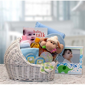 All the Right Gifts for a New Baby Girl! Welcome Home their New Baby with our Beautiful White Wicker Baby Bassinet! This bassinet comes with lots of personal care products & necessities for baby. Also includes - A Baby Is book, and Baby's Keepsake 1st Hai #gift