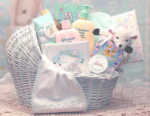 All the Right Gifts for a New Baby Boy! Give Mom & Dad this Gorgeous White Wicker Baby Bassinet! This gift basket comes with a Baby's Keepsake 1st Haircut & Tooth Boxes, along with lots of baby necessities and baby care products. Also included is - A Baby #gift