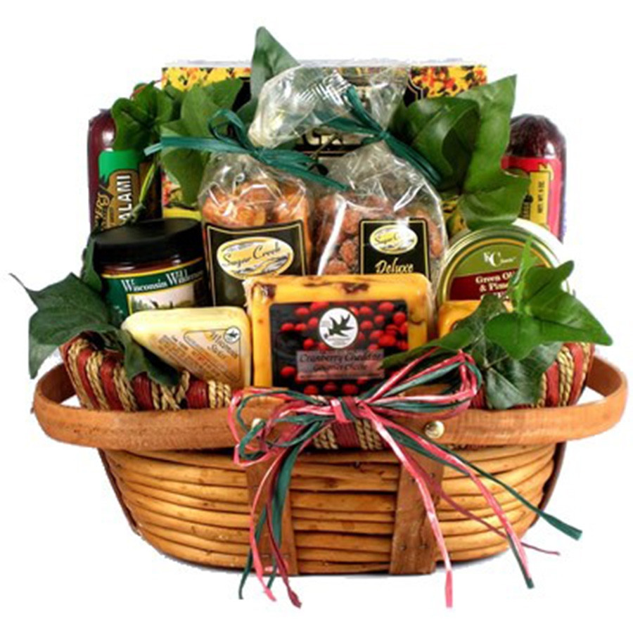 We filled this unique wooden basket with a delightful combination of fine cheese, meats and summer sausage, dips, snacks and sweet treats. Add an optional cutting board. This gift is an ideal gift for the corporate executive or for dad. Send one to your d #gift