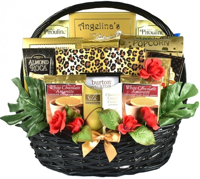 This large zebra print themed Valentines Day gift is loaded with Chocolate Treats, Cookies, Candies, Pecans, and Cheese. It also features a Photo Frame and is all presented in a large glossy black, handcrafted willow basket, topped with a designer zebra p #gift