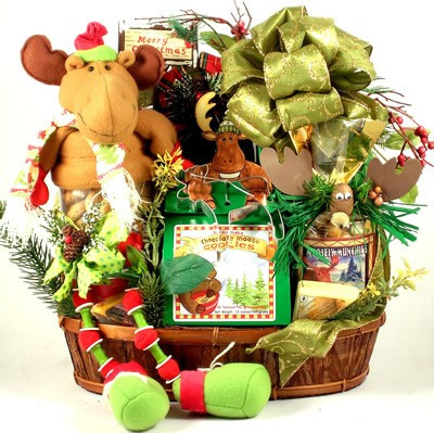 Say Merry Chris-Moose! in style with this rustic bark basket piled high with a fabulous collection of unique gifts, including an adorable holiday moose with long dangling legs and a belly full of cookies! Yes, cookies! This moose has a canister for a bell #gift