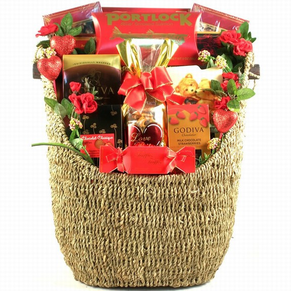 Our best selling Valentine Gift in a deluxe size for the entire family or office staff includes a combination of sweet treats, candies, chocolates, snacks and salmon in a woven magazine basket. This delectable array of sweets in such a stylish basket is s #gift