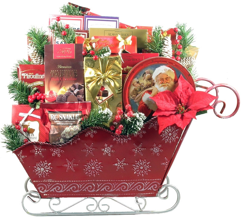 A Christmas To Remember Sleigh Gift Basket is n impressive sleigh of treats over 2 feet tall and two feet wide! Standing two feet tall and over two feet wide, this GORGEOUS gift will take their breath away! Especially when they discover all of the amazing #gift