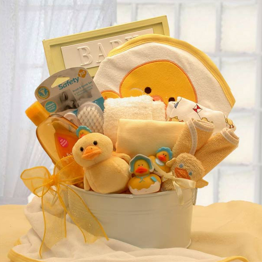 Pamper Baby with This Bath Gift! Baby's Bath Time will be filled with Joy, when you give this Gift! This gift comes with a Russ Berie musical Mommy & Me Duckling, and so much more to make bath time a hoot. Mom, Dad and Baby will Love this Gift! #gift