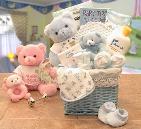 Everything Parents Need for Their New Baby! Here's a Lovely gift for all you New Moms and Dads. This gift begins with a beautifully lined storage hamper loaded with great products for your New Born, includes a Teddy Bear, booties and many baby necessities #gift