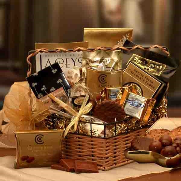 You'll find chocolate in every conceivable form in this great gift ensemble. Our chocolate gift basket is loaded with truffles, cappuccino, cookies, toffee and more chocolate, this is the perfect gift for all occasions. The gift of chocolate says it all f #gift