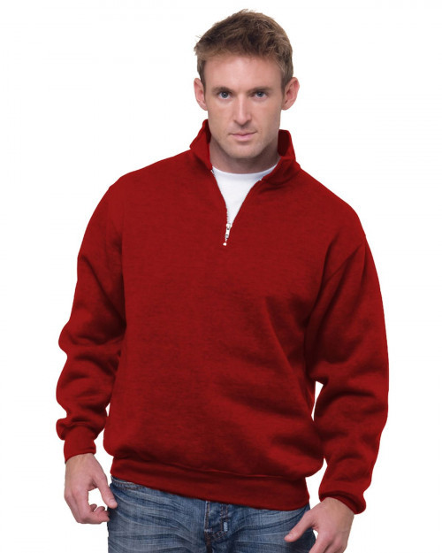 Bayside BA920 Unisex 9.5 oz.; 80/20 Quarter-Zip Pullover Sweatshirt - Cardinal - S #%20