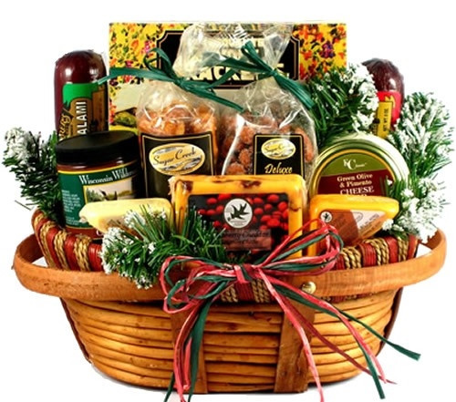 Our best seller for the last 4 years! We have filled this very handsome and unique wooden basket with a tasty combination of fine cheese, meats and summer sausage, dips, snacks and sweet treats. Available in two sizes. Add an optional cutting board. Male #gift