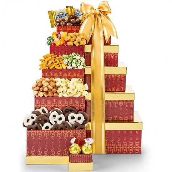 Chocolates, popcorn, pretzels, snack mixes and more - there's something for everyone in this tower of classic favorites. Stacked high and tied with a satin ribbon, these signature diamond-print boxes will arrive laden with a variety of classic favorites, #gift