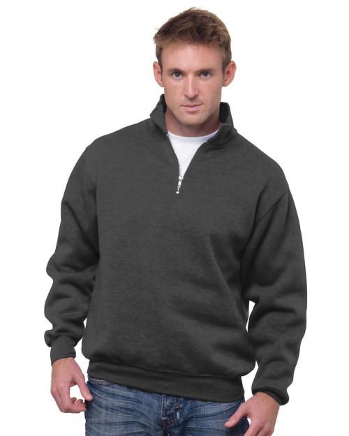 Bayside BA920 Unisex 9.5 oz.; 80/20 Quarter-Zip Pullover Sweatshirt - Charcoal - S #%20