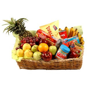 Deliver best wishes to them with a bounty of gourmet food and fruits. This basket packed with a mouth-watering array of seasonal fruits, cheese, pasta, canned goods, chocolates and sausages is sure to be a welcome gift. #gift