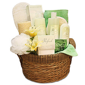 The Refreshing Gift Basket is the best way to revitalize yourself or the lucky one you are giving it to. The Enchanted Meadow products have wonderful restorative qualities. This basket contains Shower gel, Hand cream, Body lotion, Candle, Sponge, Loofah, #gift