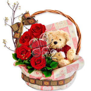 Get hugs and a whole lot more with this extravagant collection of gorgeous red roses accompanied by a cuddly plush bear. A perfect gift for any occasion. #gift