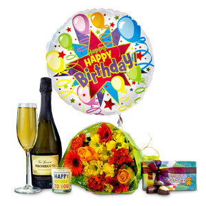 The ideal gift to wish anyone a very happy birthday and make them feel extra special. Included in the bouquet you will receive carnations, chrysanthemums, hypericum, an Marie Claire roses. Available for UK next day delivery, this birthday combo is perfect #gift
