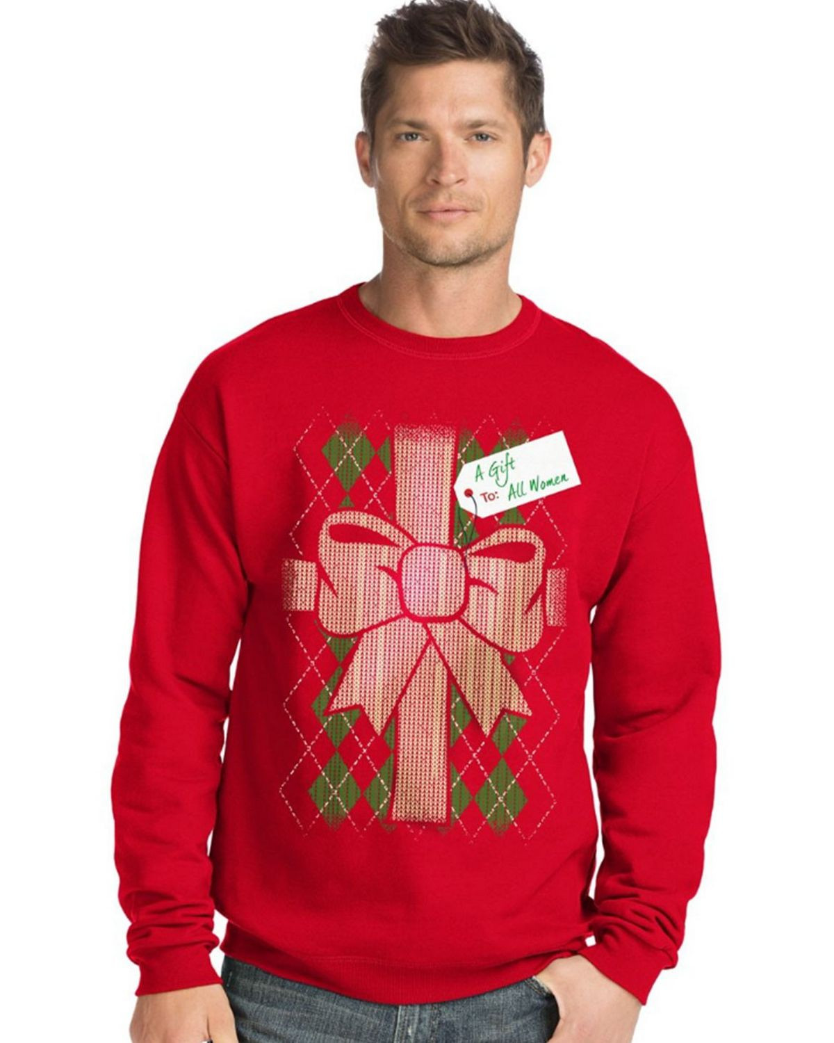 Hanes O5A11 Men's Ugly Christmas Sweatshirt - Gift To All Women/Best Red - S #gift