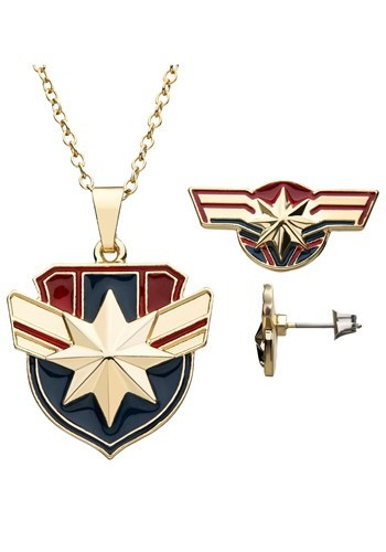 Give your Captain Marvel costume the finishing touches it deserves with this Captain Marvel Necklace/Earring Set! #gift