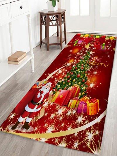 Christmas Tree Gift Santa Claus Print Flannel Skidproof Bath Mat #gift