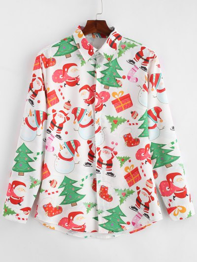 Santa Gift Snowmen Print Christmas Shirt #gift