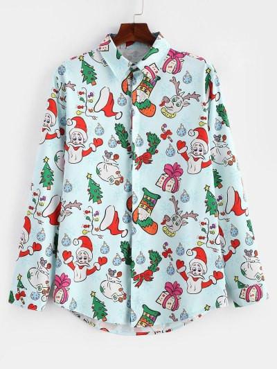 Christmas Santa Candy Gift Print Long Sleeves Shirt #gift