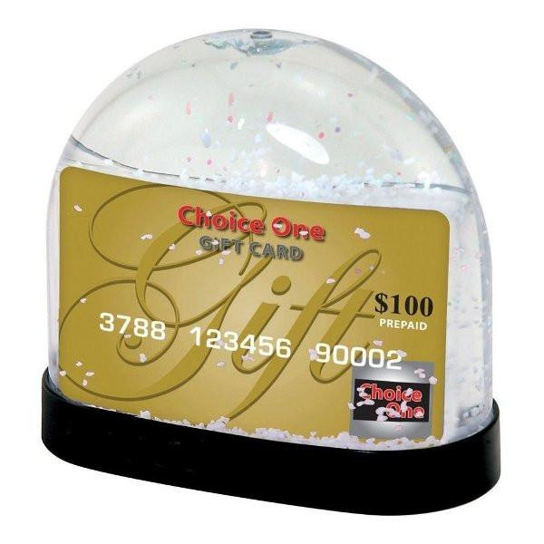 Gift card snow globe is a real hit over holidays. For all those who would prefer to have a gift card for the holidays, this is a great way to make it something special. Made out of a thick plastic. Holds two inserts (standard gift card size), once the gif #gift