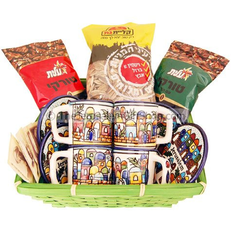 Two blends of Turkish Coffee from Israel's number one food producer with this gift basket 100 gram Elite Turkish Coffee with Cardamon100 gram Elite Turkish Coffee Four made in Jerusalem hand painted Armenian ceramic coffee cups with saucers Cup size: 2.3 #gift