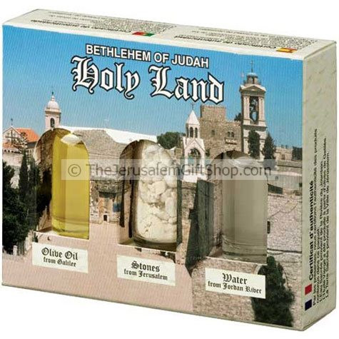Holy Land Gift Pack - Bethlehem - Direct from the land where Jesus walked. Gift pack contains: Jordan River Water.Stones from Jerusalem.Galilee Olive Oil. Pack size: 4.5 x 3.5 inches approx. Comes in decorative presentation pack featuring a picture of the #gift