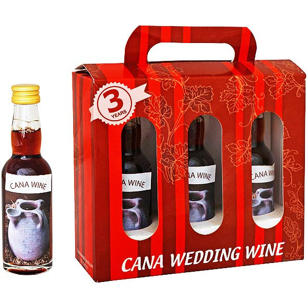 Cana Wedding Wine Gift Box from the Galilee. Includes 3 x 40 ml bottles.This wine is three years old. When the ruler of the feast had tasted the water that was made wine, and knew not whence it was: (but the servants which drew the water knew;) the govern #gift