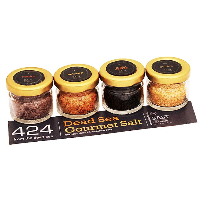 Gift pack of four Israeli '424 Exotic Dead Sea Gourmet Salt' flavors bringing you something truly unique to your dishes in a product that contains no preservatives and no chemical additives. 424 Dead Sea Salt brings together the natural qualities of the H #gift