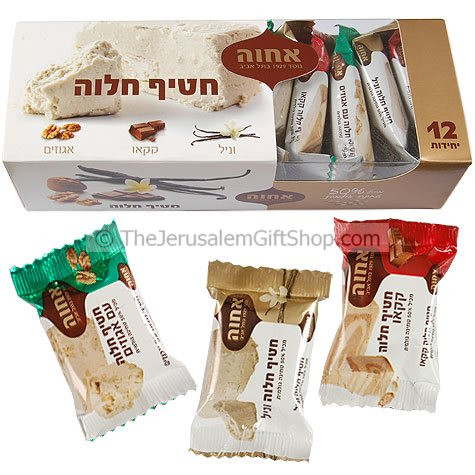 A very tasty and healthy snack selection made with Halva (sesame seeds) Includes: Vanilla, Cocoa and Walnut. 12 pieces x 25gram in a BoxBox size: 8 x 3 x 2.5 inches. Made in Israel #gift