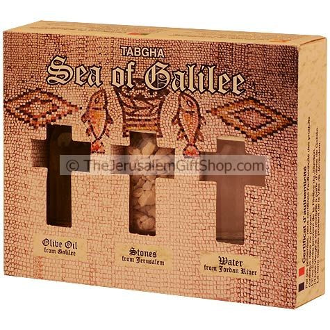Holy Land Gift Pack - Tabgha - Direct from the land where Jesus walked. Gift pack contains: Jordan River Water.Jerusalem's Stones.Galilee Olive Oil. Pack size: 4.5 x 3.5 inches approx. Comes in decorative presentation pack featuring a picture of the Tabgh #gift