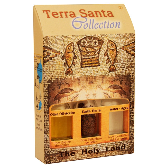 The Terra Santa Collection Holy Land Gift Pack - Tabgha - Where Jesus performed the miracle of multiplying the fish and loaves. The unique keepsake from the Terra Santa Collection brought to you from the birthplace of Christianity. Gift pack contains: Gal #gift