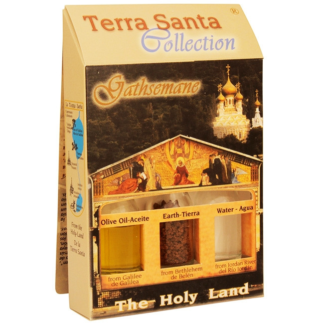 The Terra Santa Collection Holy Land Gift Pack - Gethsemane - The Olive orchard where Jesus prayed and ancient olive trees still stand - Direct from the land where Jesus was born. The unique keepsake from the Terra Santa Collection brought to you from the #gift