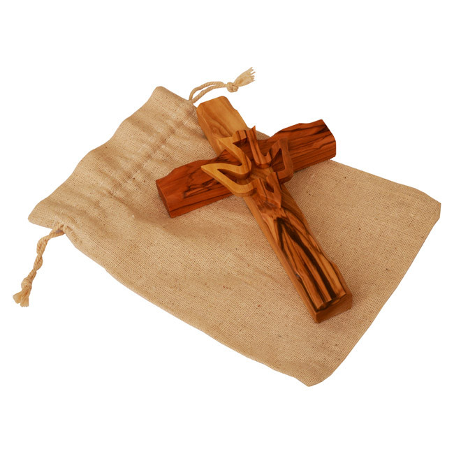 Olive Wood Cross featuring a hand carved Dove depicting the Holy Spirit - Hand made using quality olive wood in Bethlehem - The Birth place of Jesus. Size: 6 x 4 inch / 15 x 10 cm approx.Shop in Jerusalem for genuine Holy Land Products. Has an hole in the #gift