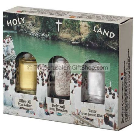 Holy Land Gift Pack - Jordan River Yardenit - Direct from the land where Jesus walked. Gift pack contains: Jordan River Water.Stones from Jerusalem.Galilee Olive Oil. Pack size: 4.5 x 3.5 inches approx.Each bottle size - 10ml. Comes in decorative presenta #gift