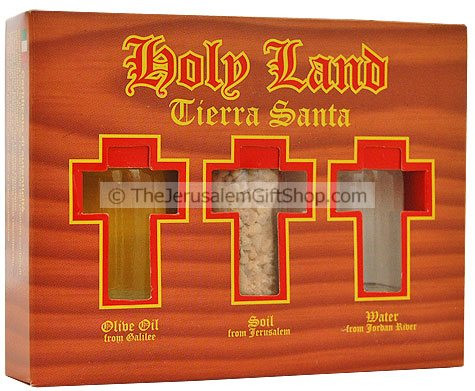 Holy Land Gift Pack - Tierra Santa - Direct from the Holy Land - Jordan River Water, Jerusalem's Stones and Galilee Olive Oil in Tierra Santa presentation pack Unique Christian gift from the Holy land Shipped direct from Jerusalem. #gift