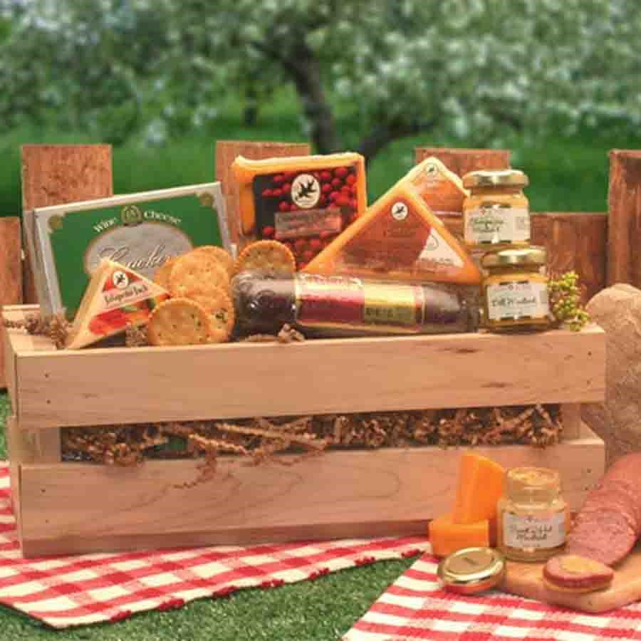 This unique pine crate is filled with savory cheeses, sausage, crackers and more. A delicious gesture in gourmet gift giving. A unique way to show you care or send your sincere sentiments. Signature Sausage and Cheese Crate Contents: Wooden Crate Swis #gift