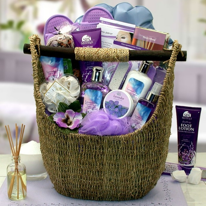 Enjoy the natural fragrance of lavender. Send her an indulgent spa experience right at home with this exquisite spa gift basket featuring Lavender Sky products. Known for its fresh floral aroma and naturally soothing properties, lavender has been used for #gift