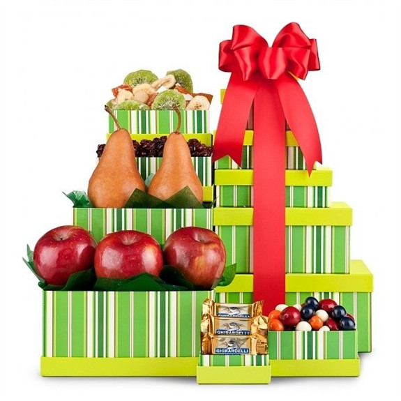A wonderful combination of fresh fruits and candies in one vibrant tower! Our Classic Fruit Tower makes a perfectly simple, yet elegant gift for business associates or anyone on your gift list this season! Five keepsakes boxes are adorned in yellow and gr #gift